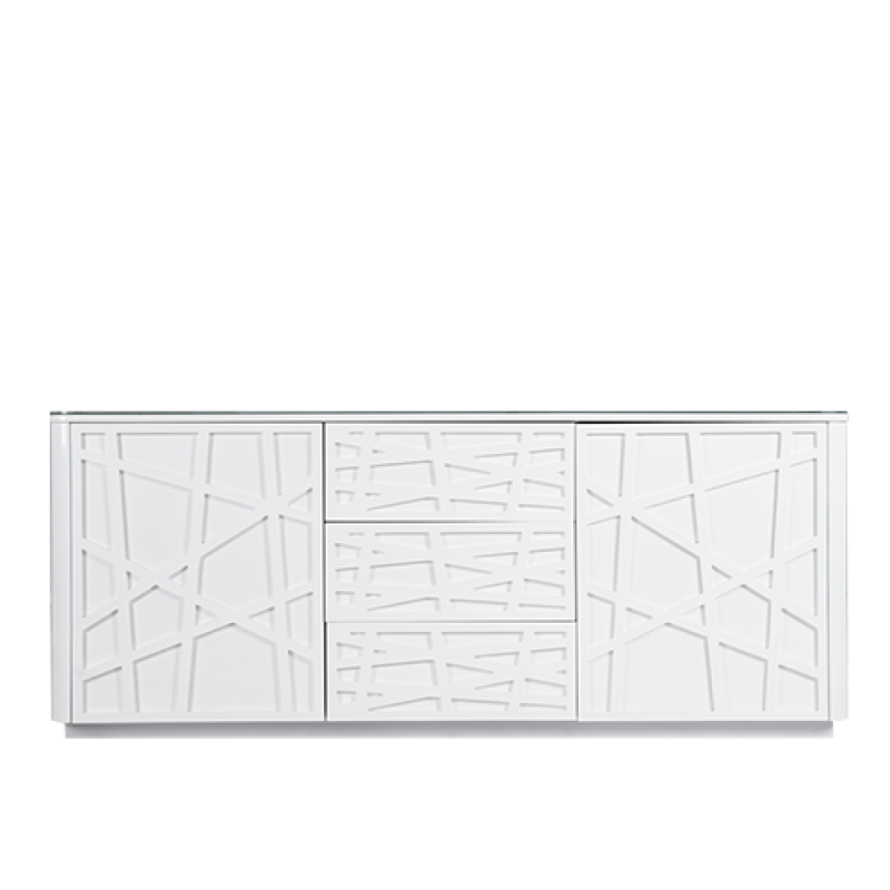 PEARL BUFFET MDF WHT HIGH GLOSSY+GLASS - Double Star Furniture