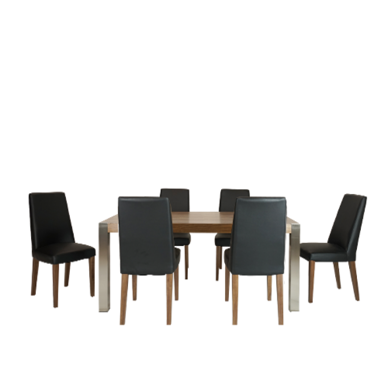 Decor 7 piece Dinning Set Black - Double Star Furniture