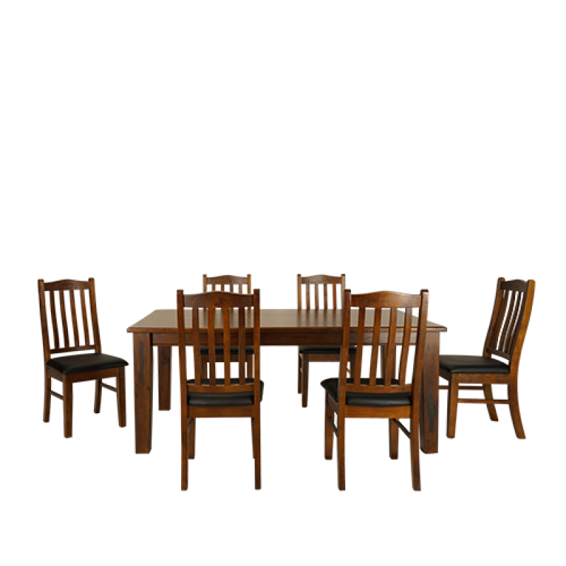 Moe Dining Table 2.1M Set 7 Piece - Double Star Furniture