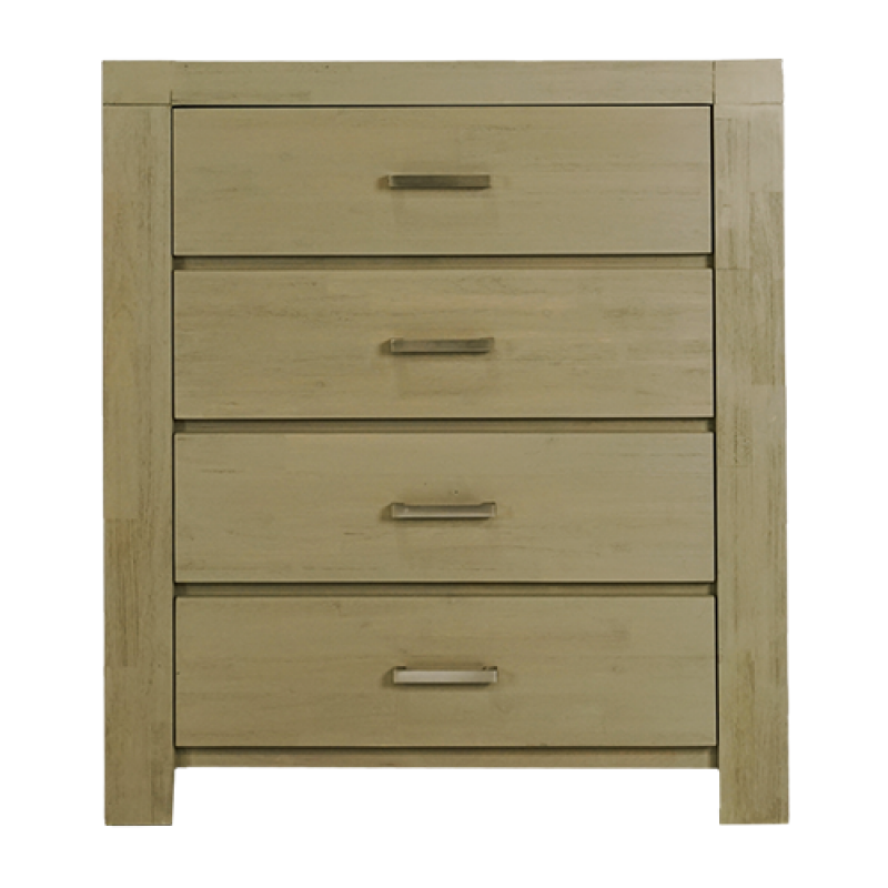 Acacia Philippe Tallboy 4 Drw Chest Natural Grey - Double Star Furniture